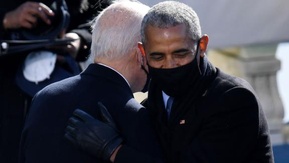 Former President Barack Obama congratulates Biden after the swearing-in. Biden was Obama's vice president for eight years.