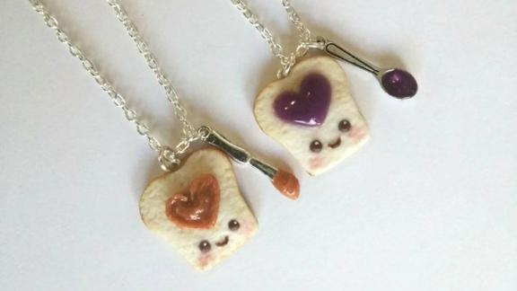 ALilBitOfCute Kawaii PB&J Heart Necklace Set