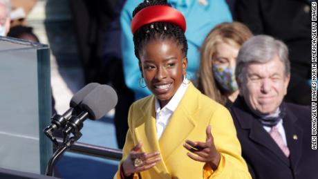 WASHINGTON, DC - JANUARY 20: Youth Poet Laureate Amanda Gorman speaks at the inauguration of U.S. President Joe Biden on the West Front of the U.S. Capitol on January 20, 2021 in Washington, DC.  During today's inauguration ceremony Joe Biden becomes the 46th president of the United States. (Photo by Alex Wong/Getty Images)