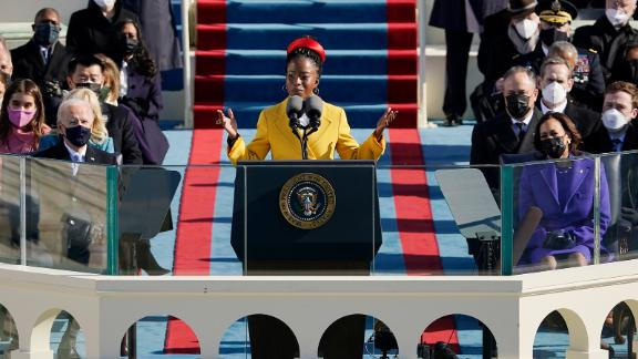 """Amanda Gorman, the nation's first-ever youth poet laureate, delivered a message of resilience at the inauguration. """"We will not march back to what was, but move to what shall be: a country that is bruised but whole, benevolent but bold, fierce and free,"""" she said. """"We will not be turned around or interrupted by intimidation because we know our inaction and inertia will become the future."""""""