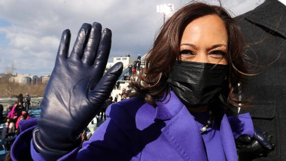 Harris leaves after the inauguration.