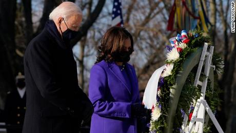 Biden, Harris honor fallen soldiers at Arlington National Cemetery