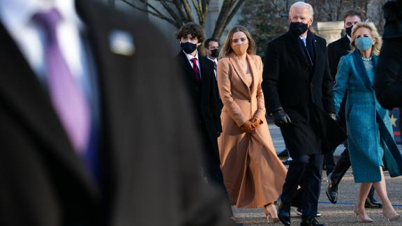 While traveling to the White House on Wednesday, Biden exited the presidential vehicle and walked the last stretch with his family.