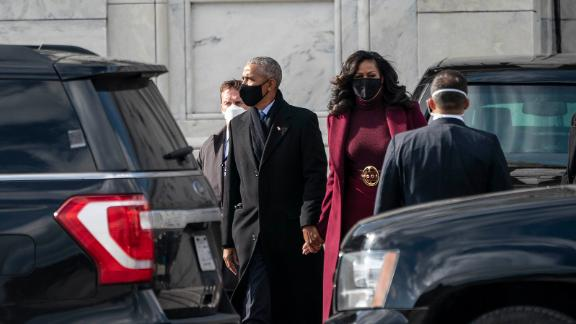 The Obamas leave the Capitol after the inauguration.