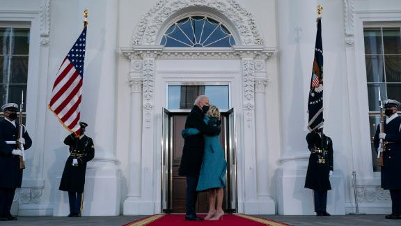 Biden arrives at the White House for the first time as president.