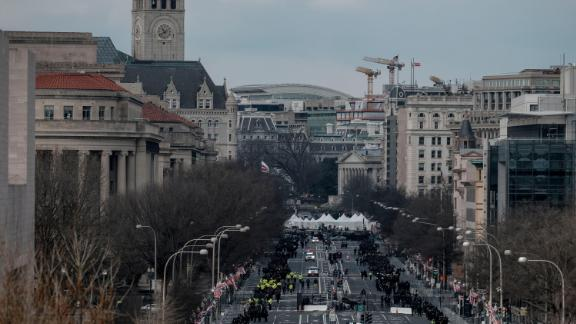 Pennsylvania Avenue is blocked by security during the inauguration.