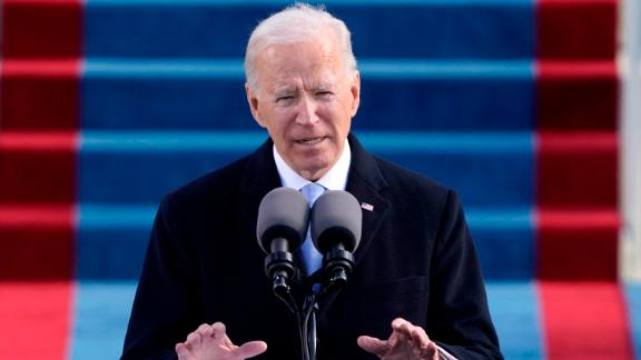 """Biden delivers his inaugural address after taking the oath of office. """"Politics doesn't have to be a raging fire destroying everything in its path,"""" Biden said as he called on Americans to come together. """"We have to be different than this. America has to be better than this."""""""