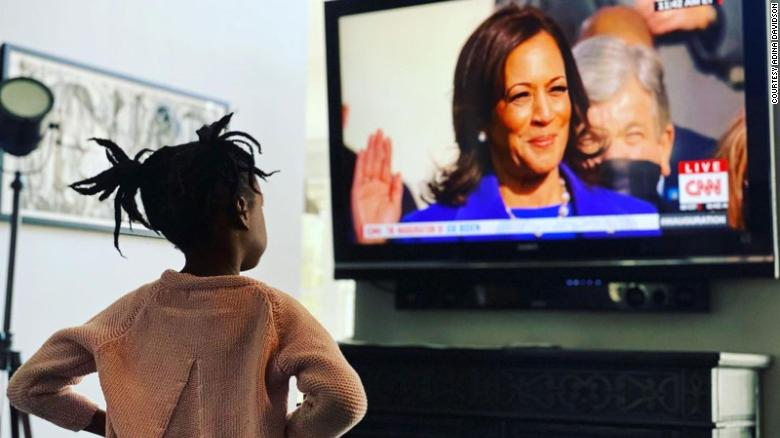 For many parents, the swearing-in of Kamala Harris was an inspirational teaching moment for their kids