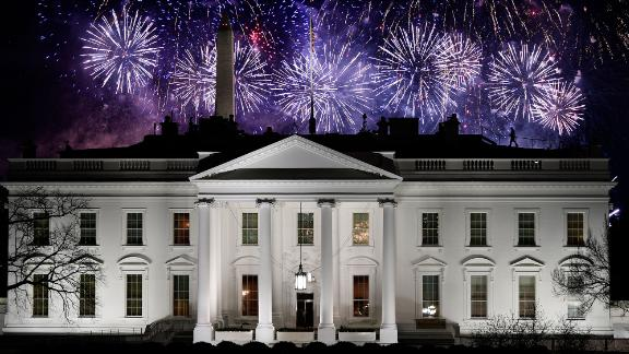 Fireworks are seen above the White House at the end of the Inauguration Day events on Wednesday.