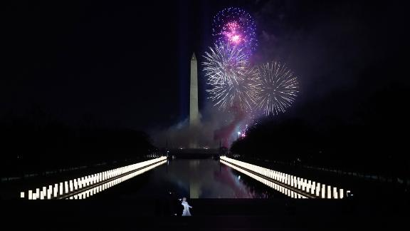 """Singer Katy Perry performs her song """"Firework"""" during the celebrations on Wednesday night."""
