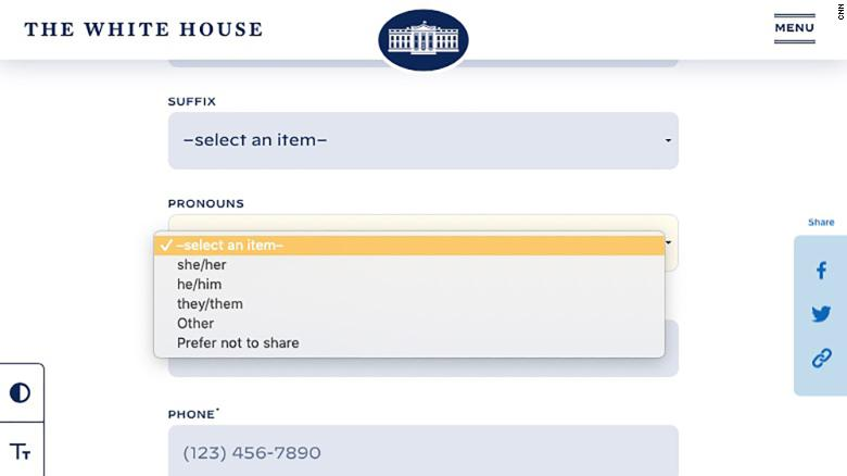 The White House contact form now lets people choose their personal pronouns
