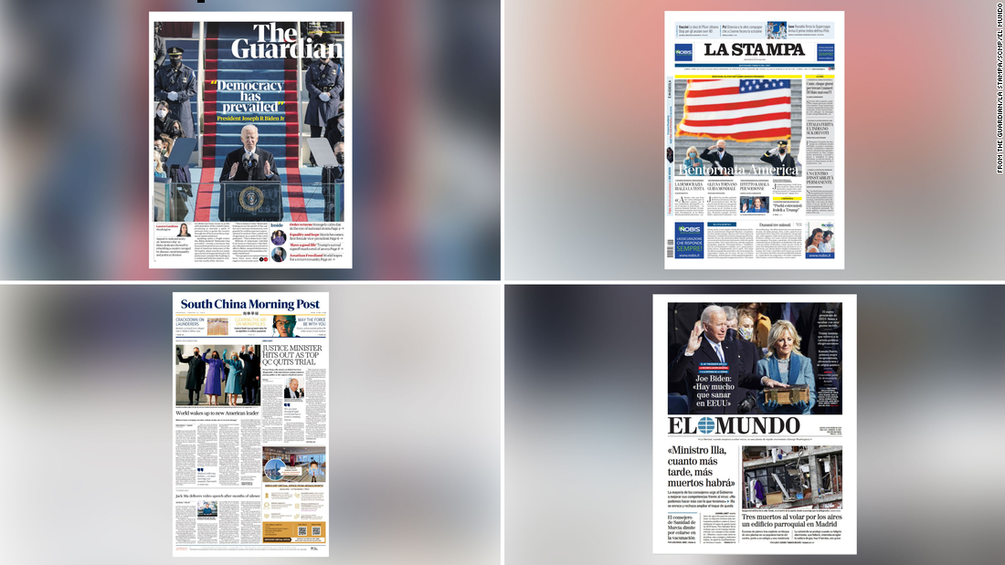 Newspapers around the world react to Biden's inauguration
