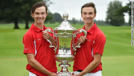 Danish players and twin brothers Nicolai, left, and Rasmus Hojgaard with the Eisenhower Trophy.
