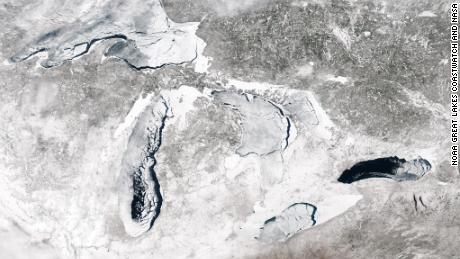 MODIS image of Great Lakes ice coverage on May 2, 2014