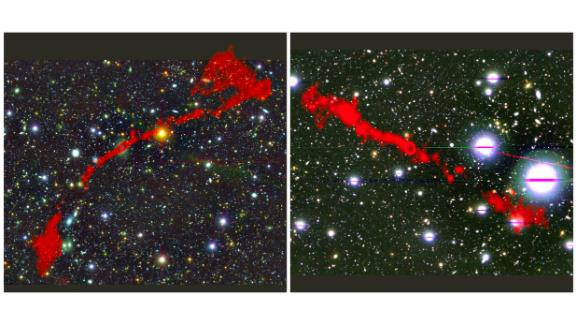 These images show two giant radio galaxies found with using the MeerKAT telescope. The red in both images shows the radio light being emitted by the galaxies against a background of the sky as it is seen in visible light.