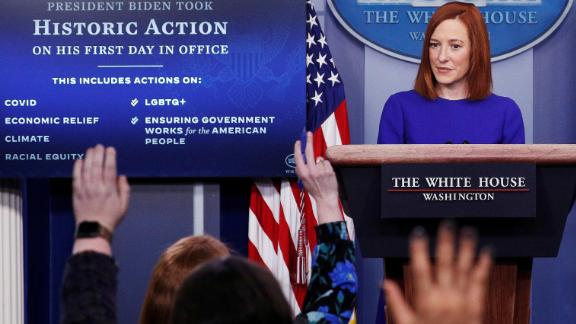 """White House press secretary Jen Psaki takes questions from journalists after Biden's inauguration. Psaki confirmed that she will hold daily briefings. She told the reporters in the room that she will butt heads with them sometimes but that """"we have a common goal, which is sharing accurate information with the American people."""""""