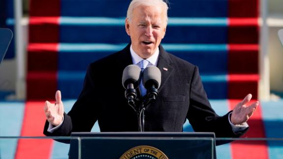 President Joe Biden speaks during the the 59th inaugural ceremony on the West Front of the U.S. Capitol on January 20, 2021.