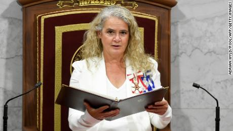 Canada's Governor General Julie Payette delivers the Throne Speech in the Senate, as parliament prepares to resume in Ottawa, Ontario, Canada, on September 23, 2020.