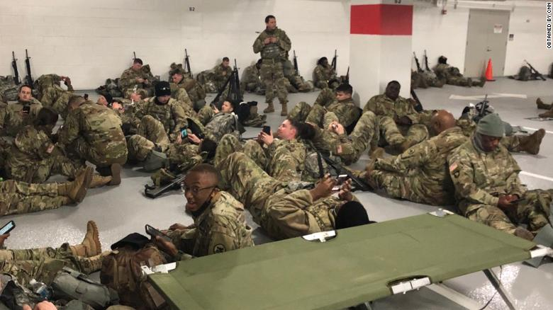 Guard Soldiers were ordered to move from the cafeteria to the parking garage