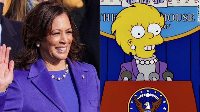 Social media users noted the parallels between Vice President Harris' inauguration outfit and Lisa Simpson from a 2000 episode.