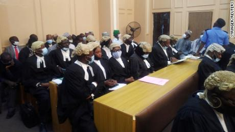 Lawyers in a court during a hearing of a blasphemy case in Kano, Nigeria on January 21