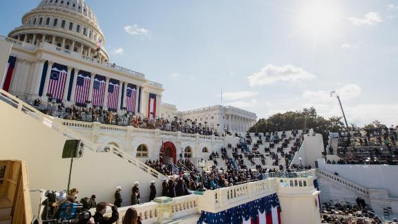 Biden speaks from the West Front of the US Capitol.