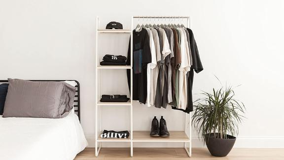 Iris Metal Garment Rack With Shelves