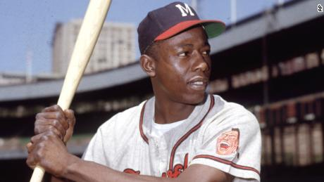 Hank Aaron, Milwaukee Braves' outfielder, is shown in a posed batting portrait at the Polo Grounds, Brooklyn, during the exhibition season, 1954.  (AP Photo)