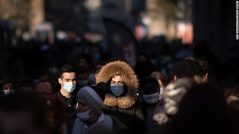 People wearing face masks in Rennes, western France.