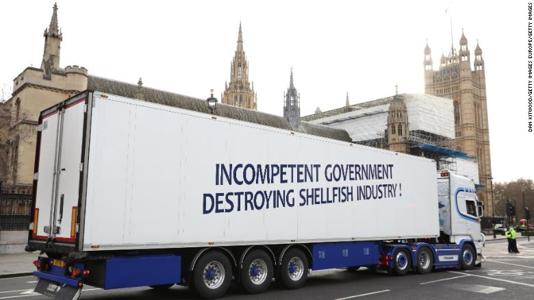 Members of the seafood industry have protested against the post-Brexit requirements that they say have caused a sharp drop in exports to the European Union.
