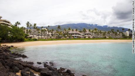 A file photo of Ka'anapali Beach in Lahaina, Hawaii, where the shark attack took place.