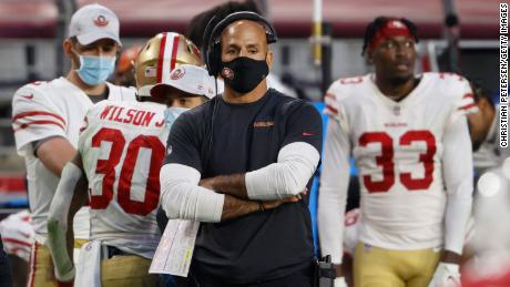 Robert Saleh, former defensive coordinator for the San Francisco 49ers, looks on during a game against the Arizona Cardinals at State Farm Stadium on December 26, 2020 in Glendale, Arizona.