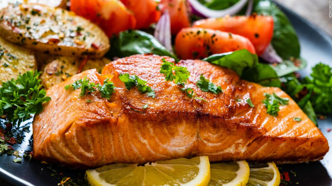Grilled salmon is a rich source of stress-busting omega-3 fatty acids.