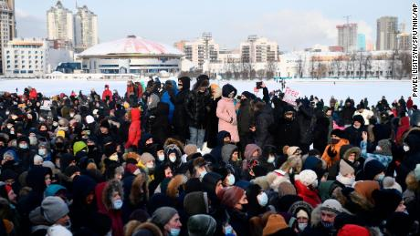 Navalny supporters attend a rally in Yekaterinburg, Russia, to support him.