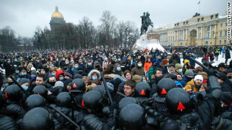People clashed with police during a protest against Navalny's prison in St. Petersburg, Russia, on January 23, 2021.