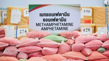 Methamphetamine pills confiscated from court cases on display in Bangkok, Thailand, on June 26, 2020.