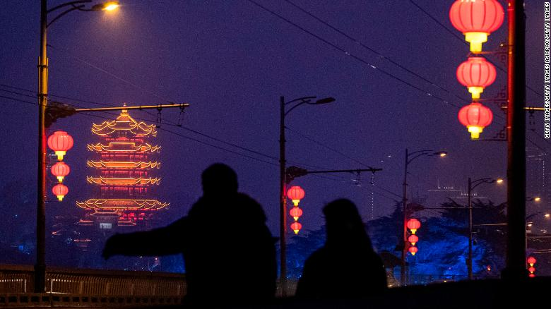Red lanterns are hung around Wuhan's Yellow Crane Tower for the upcoming Lunar New Year.