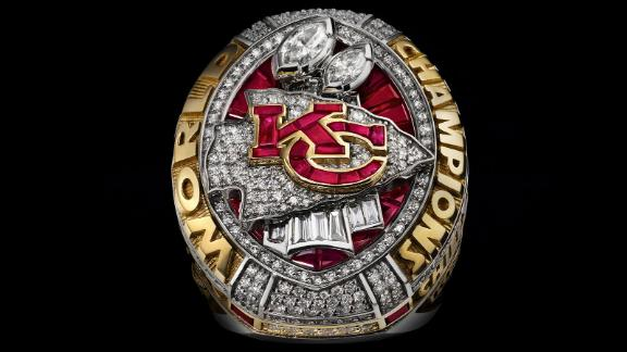 The Kansas City Chiefs received this ring for winning Super Bowl LIV in 2020. Rings have been made for every NFL champion since the first Super Bowl in 1967.