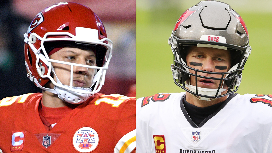 Patrick Mahomes, left, and Tom Brady