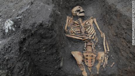 The remains of an individual buried in Cambridge's  Augustinian friary are shown here.