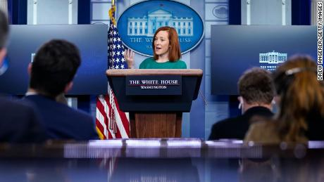 White House press secretary Jen Psaki speaks at the daily press briefing Monday.