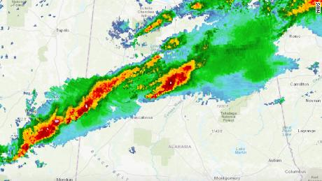 A series of storms stretch from Alabama to Georgia bringing severe weather.