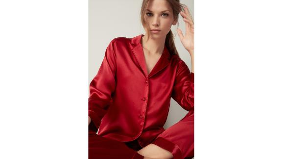 Intimissimi Silk Satin Boyfriend-Fit Pajama Top