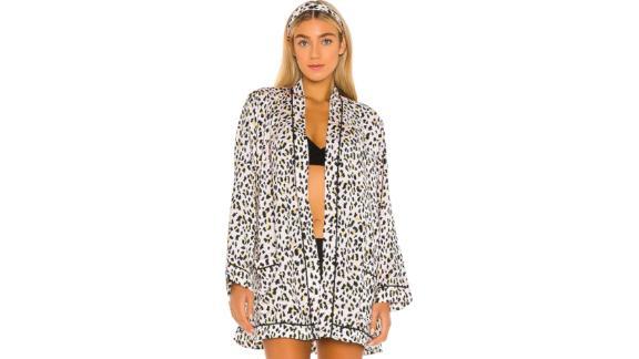 Plush Silk Cheetah Pajama Robe and Headband Set