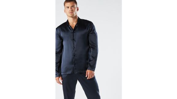 Long Silk Piped Pajamas