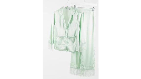 Asos Design Satin and Fringe Shirt and Pants Pajama Set