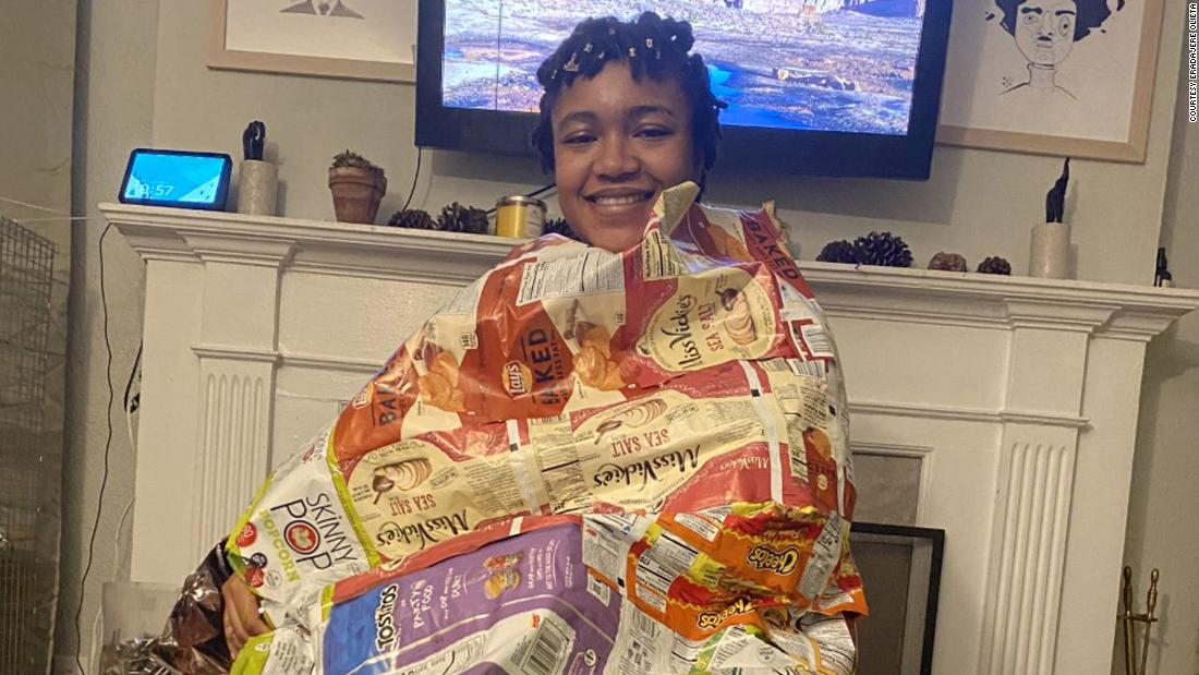 Activist turns old potato chip bags into sleeping bags for the homeless