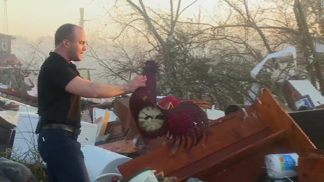 Reporter shows wreckage from powerful tornado in Alabama