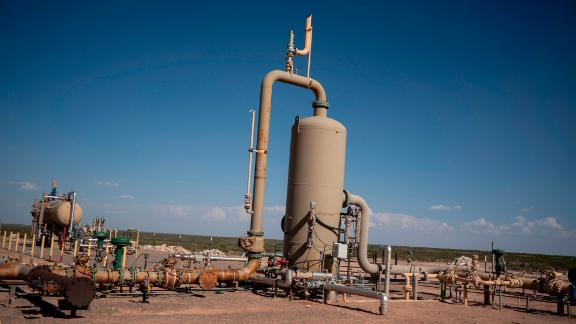 Equipment at a fracking well is pictured at Capitan Energy on May 7, 2020 in Culberson County, Texas. - For oil and gas producers in the world's largest oil field, straddling the border between Texas and New Mexico, the losses due to the collapse of oil prices are colossal. (Photo by Paul Ratje/AFP/Getty Images)