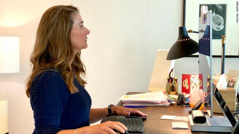 Melinda Gates works from home during quarantine in 2020.